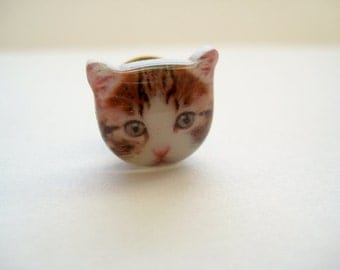 Cat head portrait tie tack pin - Tickles the Brown Tabby Cat