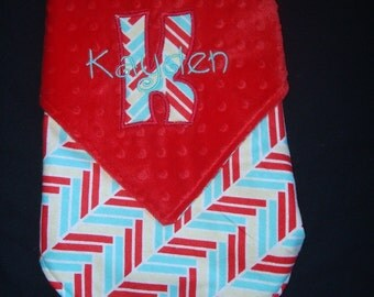 PERSONALIZED BABY BLANKET - 18 X 20 - Red, Aqua and Light Yellow