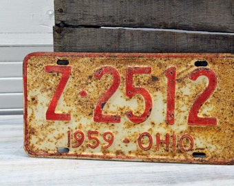 1959 Ohio License Plate - rustic red on white