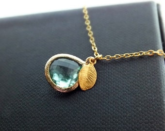 Erinite Necklace, Aqua Drop Pendant and Gold Leaf on a Gold Filled Chain - Also Available in Silver, Minimalist Necklace, Wedding Jewelry