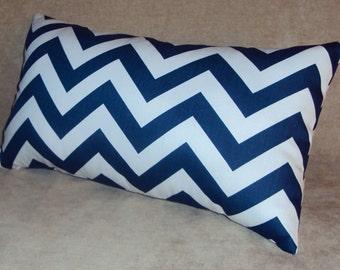 Navy Blue Chevron Zig Zag Decorative Lumbar Pillow Cover - 3 Sizes Available