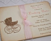 Baby Girl Invitations Carriage Pram Invitations Vintage Style Pink Ribbon Set of 10