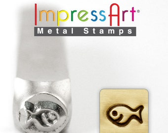 Fish Stamp -  IMPRESSART - 6mm - Hand stamping supplies -  Design Stamp   - Metal Stamps