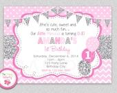 Girls 1st  Birthday Invitation , Grey Pink Girls 1st Birthday Invitation , Pink and Silver Glitter Chevron Birthday Invitation