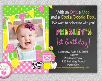 Farm Birthday Invitation, Girls Farm  Invitation , Girls Birthday Invitation , 1st Birthday Invitation , Barnyard Birthday