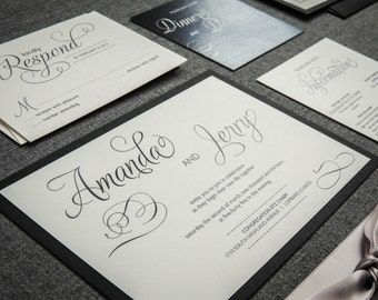 Black Tie Party, Silver, Black and White, Winter Wedding Invitations, Elegant, Modern Swirl and Flourish, Flat Panel, 1 Layer, v3 - DEPOSIT