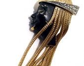 BOUCHER 7447 Book Piece BLACKAMOOR Face Fur Clip Spectacular Famous Rare 3D figural pinCollectible Antique Vintage Jewelry artedellamoda