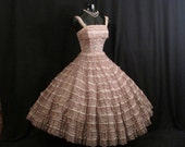 Vintage 1950's 50s Bombshell Mocha Dusty Rose Lace Tulle Circle Skirt Party Prom Wedding DRESS Gown