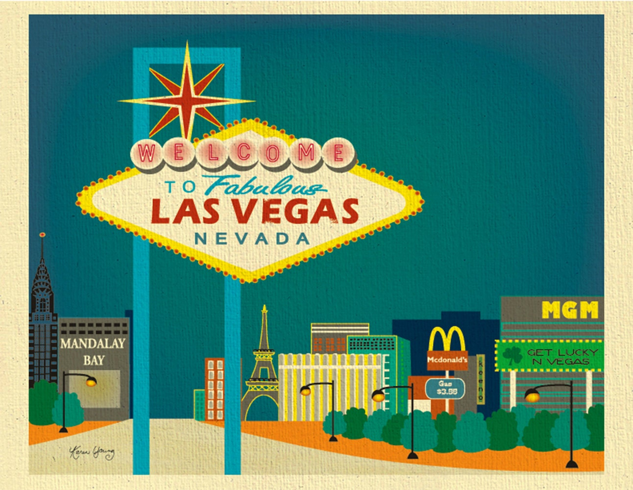 Las Vegas Wall Art las vegas skyline art print las vegas wedding gift las vegas