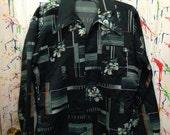 Mens vintage polyester pimp nylon disco button down long sleeve shirt size medium 15 green white orange lines flower motif 70's
