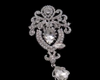 Rhinestone Brooch Pin - Flatback Supply - Flatback Embellishment Button - Dangling Wedding Brooch - Wedding Jewelry Supply - RD403