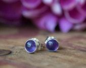 Amethyst Studs - Sterling Silver Stud Earrings - Everyday Earrings - GIfts for Her - Gemstone Earrings - Small Earrings - Gemstone studs