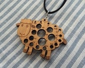 Needle Gauge Sheep pendant (Bamboo)