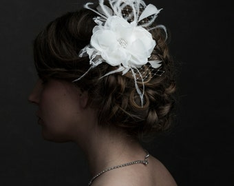 Bridal Hairpiece, Fascinator Ivory Flower, Bridal Accessories, Fabric Flower, Handmade with Ostrich Feathers