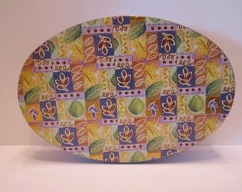 Fannie May Vintage Candy Tin - Oval Shape - Leaf Design