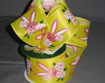 "Easter Ribbon 2-1/2"" Wire Edge, Easter Bunny 5 Yards"