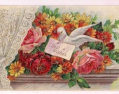 Dove in Floral Bouquet on the Window Sill - Wedding Congratulation with Best Wishes Note - Red and Pink Roses Floral Arrangement for Wedding