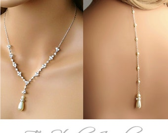 Backdrop Pearl Bridal Lariat Back Drop Style Necklace and Earrings Set - Ivory or White Pearls - Gold or Silver Base - MARISSA