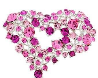 Pink Heart Crystal Pin Brooch 1012641