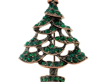 Green Christmas Tree Crystal Pin Brooch 1003432