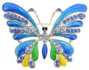 Blue Green Yellow Enamel Butterfly Brooch Pin 1001592