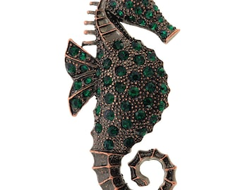 Emerald Green Seahorse Crystal Brooch Pin 1001731