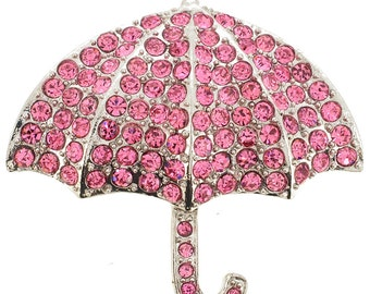 Pink Umbrella Crystal Pin Brooch 1000412