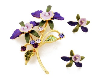 Purple Orchid Flower Brooch And Earrings Gift Set 4000028