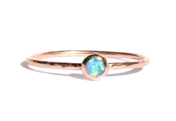 Sale Thin Opal Ring SOLID Rose Gold Opal Ring Stacking