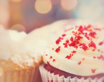 cupcake print, food photography, photograph, therapy session, red velvet sweet white frosting, bakers, childrens room, baby nursery kitchen