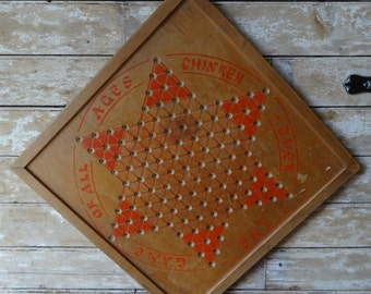 Vintage Retro Chinese Checker Board Rare