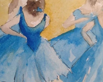 BLUE BALLET - original 6 x 6 inch watercolor