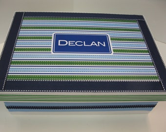 Navy Blue, Green and Light Blue Personalized Keepsake Box