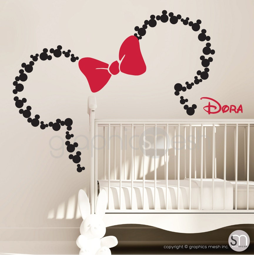 Mickey Mouse Inspired Ears With Bow Personalized Baby Name