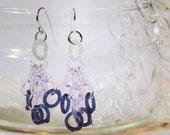 Loveley soft lavender glass tassel earrings