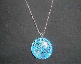 Large, Light Blue & Black Confetti Glass Pendant