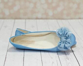 Wedding Shoe - Wedding Flats - Ballet Shoe - Ballet Wedding Flats - Bridal Shoe - Wedding Flats - Blue Wedding Flats - Blue Ballet Slipper