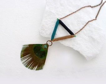 Peacock Tribal Triangle Pendant Necklace, Ethnic Style Long Necklace