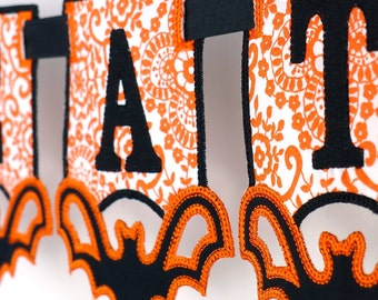 "Halloween Bat Banner In The Hoop Banner Project Machine Embroidery Design Applique Patterns in 4 sizes 4"", 5"", 6"" and 7"""