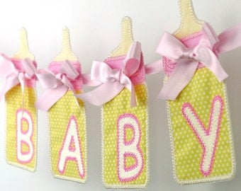 "Baby Bottle Banner In The Hoop Project Machine Embroidery Design Applique Patterns in 7 sizes 4"", 5"", 6"", 7"", 8"", 9"" and 10"""