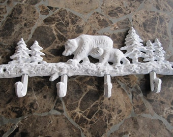 Bath hook rack/ Rustic Cabin heirloom white coat hook/ Bear Nursery decor hook/ Jewelry Organizer