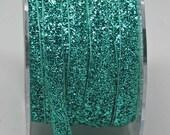 Velvet Metallic Trim -- 3/8 inch -- Sea Glass Green -- Green Glitter Nylon Ribbon