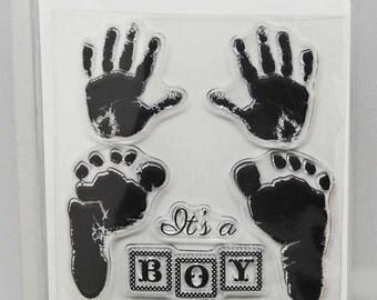 KaiserCraft Pitter Patter Clear Stamps -- Acrylic -- Handprint Footprint Baby Blocks Its a Boy Girl