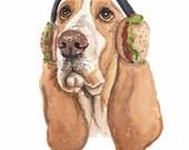Dog Watercolor PRINT - Basset Hound, 11x14 Watercolor Illustration, Nursery Art, Hamburger, Dog Lover