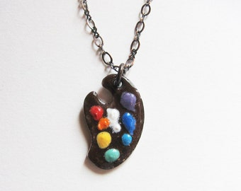 Enamel painters palette necklace Artists palette pendant Handpainted artisan jewelry Artist gift Gift for artist