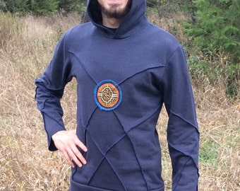 Mens Hemp and Organic cotton Aliginment Hoodie with Shipibo textile patch on the front and back Mens S navey hoodie