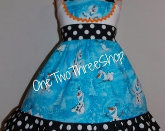 Olaf Custom Boutique Children Clothing Jumper  Dress 12 Months to 6 Years