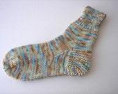 Hand Knit Pure MERINO Wool Socks in Blue Brown multi / Adult Knit Socks/ meaningful gift