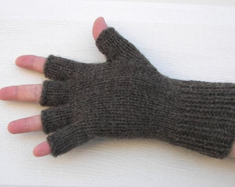 Hand Knit ECO Peruvian Undyed WOOL Half Finger GLOVES in Gun Metal, Vanilla, Tarnish, Taupe, Antique colors