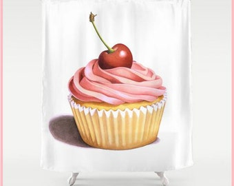 Pink Cupcake with a Cherry illustration shower curtain bathroom decor watercolour design by Maine artist Patricia Shea